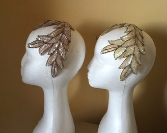 Sequins and beads 1950s vintage evening headpiece