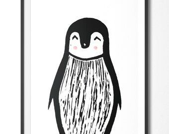 Printable art nursery baby children wall art black and white 'Maurice The Penguin'