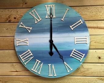 Unique Large Clock, Reclaimed wood clock, wooden wall clock, wood clock, extra large clock, decorative clock, ocean decor clock