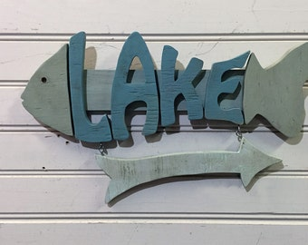 "Lake House Sign - 16"" wood lake sign - Wood Sign - great for lake house decor"
