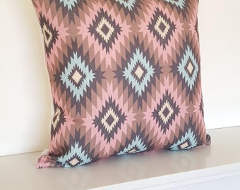 Pink Aztec/Tribal/Geometric Cotton Linen Cushion Cover 18 x 18""