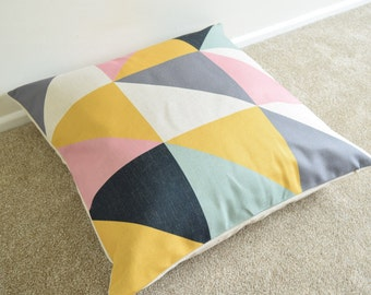 Geometric/Scandi/Nordic Pastel Shades Cotton Linen Floor Cushion/Pillow Cover in 26 x 26""