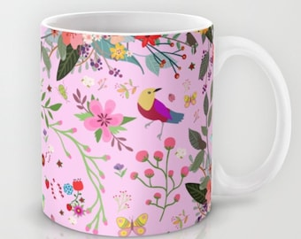 Pink Flowers and Birds mug-Valentines gift-Love gift-Colourful mug-Gift for her-Coffee lover gift-Gift idea-Beautiful gift-Coffee mug