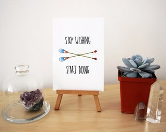 Stop wishing - Start doing - Embroidered Postcard - Watercolor Art - Archival Print