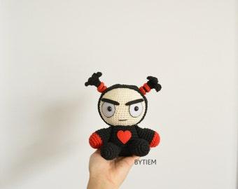 Pucca Garu - Stuffed, cotton, plush doll crochet, big amigurumi, fan-art crochet toys, wedding decoration, valentine crochet gifts