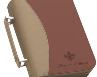 Bible Cover Burgundy and Tan Bible Cover Personalized Bible Cover
