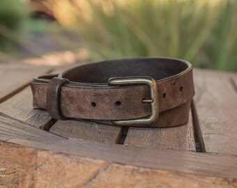 Dark Brown Leather Belt   Handmade in the USA   Rustic Leather Belt   Distressed Leather Belt