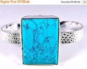 SALE Genuine Natural Turquoise Sterling Silver Cuff Bracelet STERLING SILVER - Turquoise - Gemstone Bracelet - Boho chic silver turquoise Cu