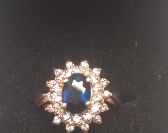 14k gold ring with dark blue Sapphire & 28 Diamond