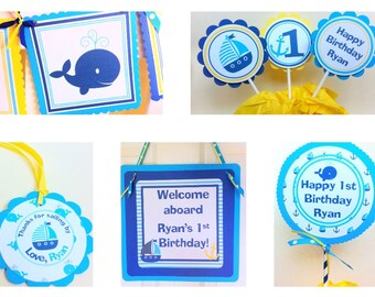 Whale, Nautical Birthday Party Package