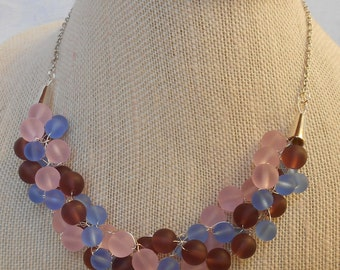 Blue Purple and Pink Sea Glass Necklace