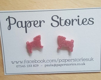 Pink sparkly pug earrings