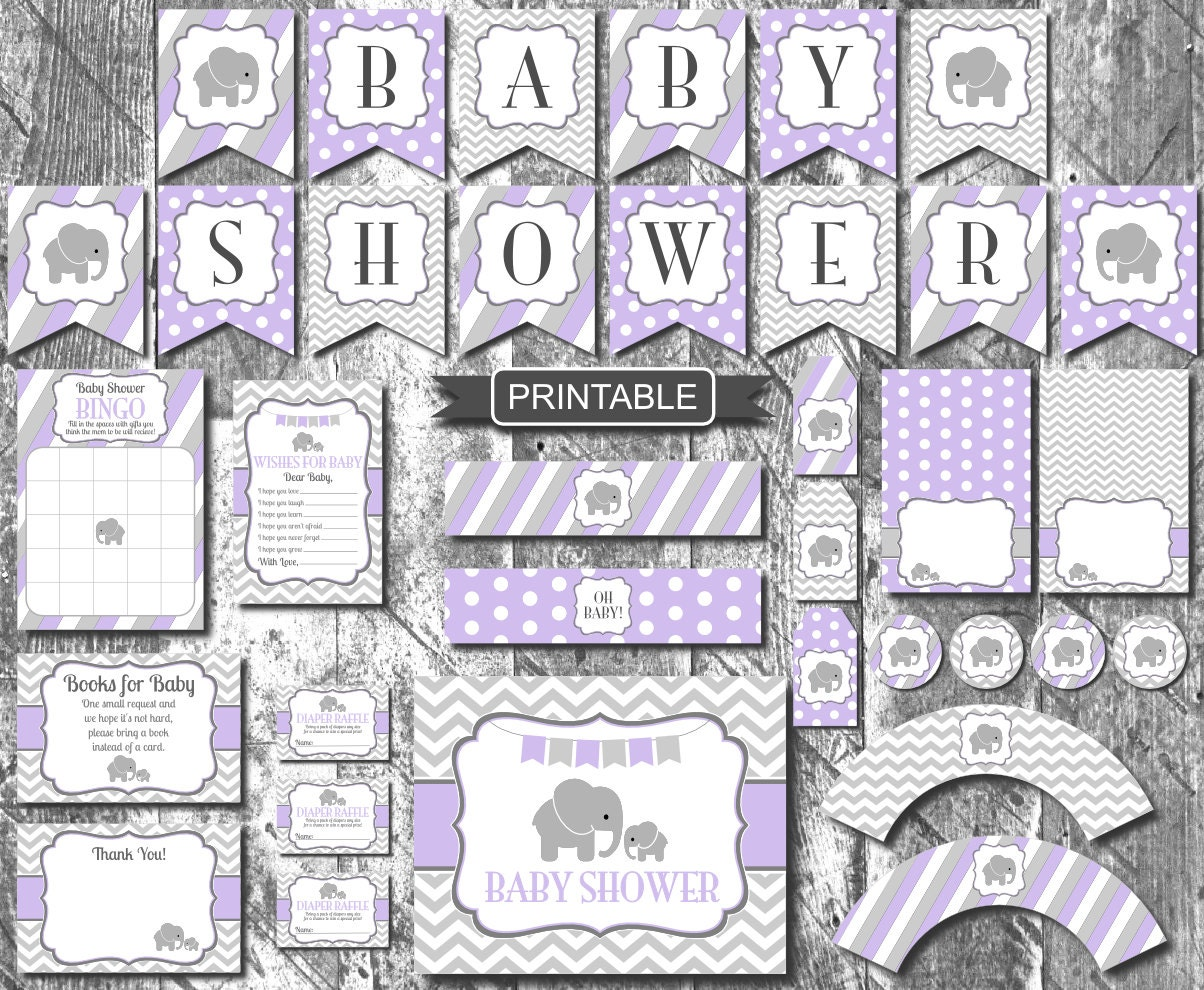 lavender purple grey elephant girl baby shower decorations