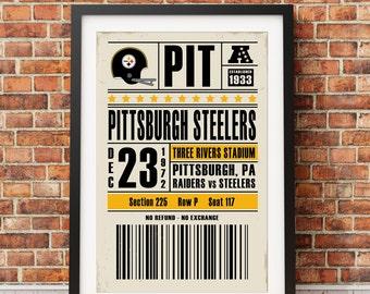 Pittsburgh Steelers Retro Ticket Print
