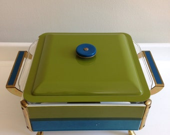 Vintage enameled Fire King casserole dish with cradle, Fire King chafing dish, teal and green enameled casserole warmer, mod casserole dish
