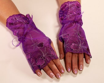 Fingerless Gloves Purple Gloves Lace Gloves Wedding Gloves Party Gloves Bridal Gloves Formal Gloves Flowery Gloves Arm Warmers Gloves
