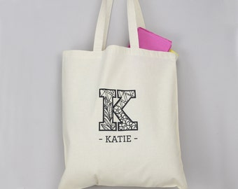 Zentangle Initial Tote Bag - personalised, gift for friend , shopping bag