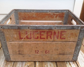 Lucerne milk crate etsy for Decorating with milk crates