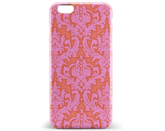 1179 // Pink and Orange Damask Design Phone Case iPhone 5/5S, 6/6S, 6+/6S+ Samsung Galaxy S5, S6, S6 Edge Plus, S7