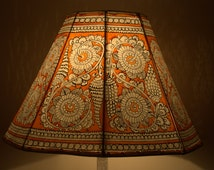 Floral Lamp shade /Hand Painted Leather Lamp shade / Floor Lamp / Large Lamp Shade / Floor Lamps