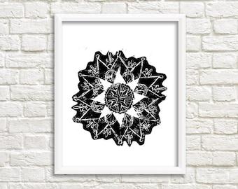 Linocut reason mandala / artwork / mandala pattern / 24 x 32 cm / A4 size / 11.93 x 15.98 inches / bouddhsime