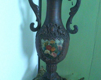 Vase amphora, real carved-wood painting old 1700/1800