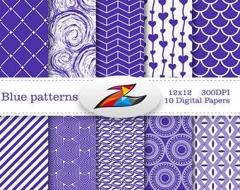 Sale Blue Digital Paper geometric pattern invitation paper blue white scrapbook paper background Commercial Use Printable Paper