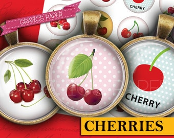 """Red cherries Fruit Digital Collage Sheet - td131 - 1.5"""", 1.25"""", 30mm, 1 inch - Images Instant Download Circles Printable Round Bottlecaps"""