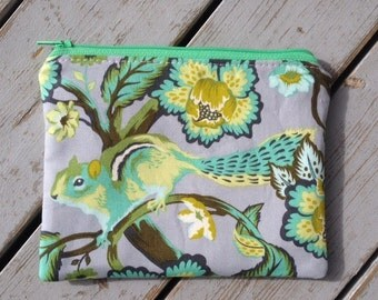 Modern Squirrel Print Zipper Pouch/ Tula Pink Chipper Zipper Pouch/ Floral Print Bag/ Silver Grey  and Green Accessory Bag