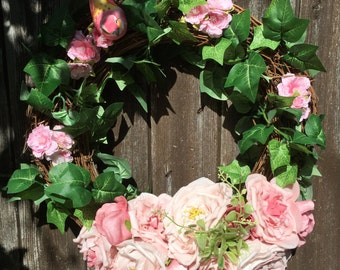 Summer Pink Bird Wreath