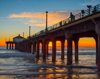 Pier Photography, Beach Sunset Photo, Ocean Photography, Beach Wall Art,  Beach Decor, Manhattan Beach Pier, Large Wall Art, Home Decor