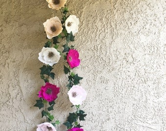 Crepe Paper Flower and Ivy Garlands