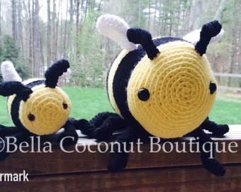 Large Bumblebee, Honey Bee, Crochet Bee, Stuffed Bee, Bee, Stuffed Bumblebee,  Crochet Honey Bee, Stuffed Animal, Beekeeper Gift, Bee Toy