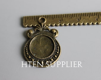 20pcs 12mm  Antique Bronze pendant setting base , 12mm glass brass pendant blank base, 12mm antique bronze 25mm pendant trays
