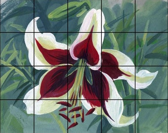 "Red and White Lily-Ceramic Tile Mural Backsplash 30"" x 24"""