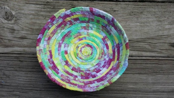 Tie Dye Coiled Bowl /Hand Dyed Fabric Bowl /Tie Dye Gift/ Tie Dye Housewarming Gift/ Fabric Bowl/ Hostess Gift/ Key Bowl/ Hippie Gift