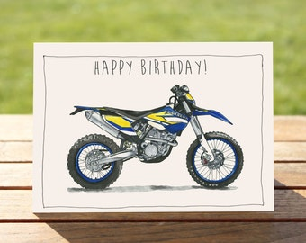 "Motorcycle Birthday Card -  Husaberg Dirt Bike | A6 - 6"" x 4"" / 103mm x 147mm 