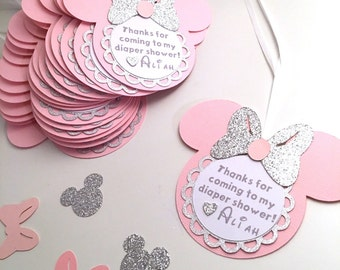 Minnie Thank You Tags / Silver and Pink / Pink and Gold / Minnie Mouse / Favor Tags / Favor Cards