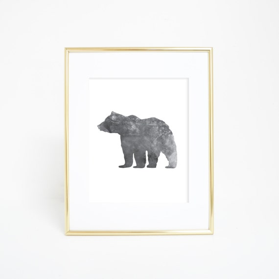 Bear Print, Wall Prints, Woodland Nursery, Black Bear Print, Bear Wall Print, Printable Wall Art, Digital Wall Print, Woodland Print