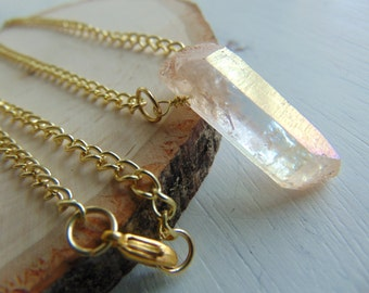 Peach Quartz & Gold-Plated Necklace