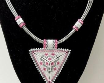 PEYOTE TRIANGLE LEATHER Necklace-PeyoteTriangle Pendant-White,Pink, Grey Miyuki Delicas-Metallic Grey Leather Cord-Boho Necklace-(TRN2)