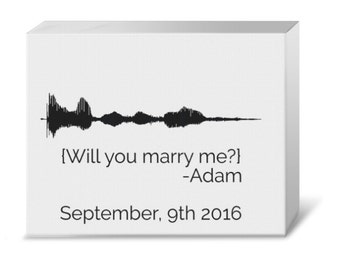 """Your Voice """"Marry Me?"""" Wedding Proposal Waveform Gallery Canvas"""