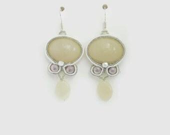 Pendants soutache earrings white and silver