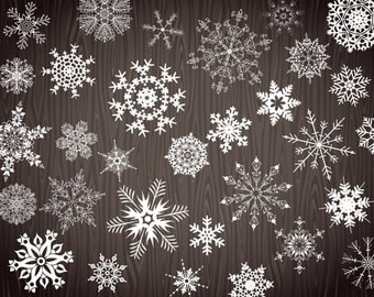 Instant Download Snowflake Clipart, White Snowflake Clip Art, Christmas Clipart, Christmas Snowflake Clip Art, Chalkboard Snowflake 00367