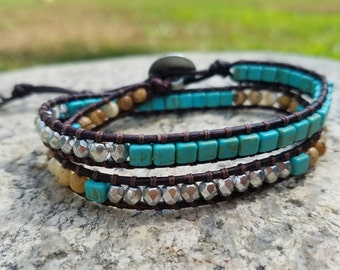 Island Paradise leather double wrap bracelet
