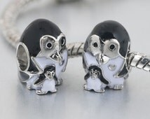 Silver Plated Mother Penguin and Baby Charm Fits Pandora and European Bracelets Free Shipping orders over 20.00 until Sept 30 2016