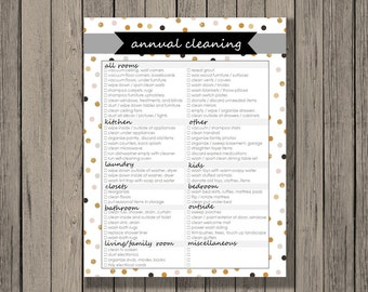 Spring cleaning checklist printable, Annual cleaning checklist, categorized by room, instant download. Cleaning schedule.