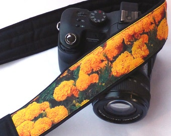 Yellow Marigold Flowers Camera Strap. Cute Camera Strap. Canon, Nikon Camera Strap. Camera Accessories