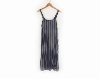 Cotton Sun Dress Navy Stripe