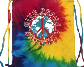 Give Peace a Chance Tie Dye String Bag GIVEPEACE-9500